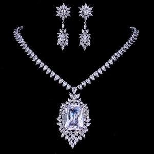 Image 2 - Emmaya cyrkonie jakość aaa cyrkonia Big Rectangul Royal Blue Bridal wieczór weselny kolczyk naszyjnik komplet biżuterii damskiej