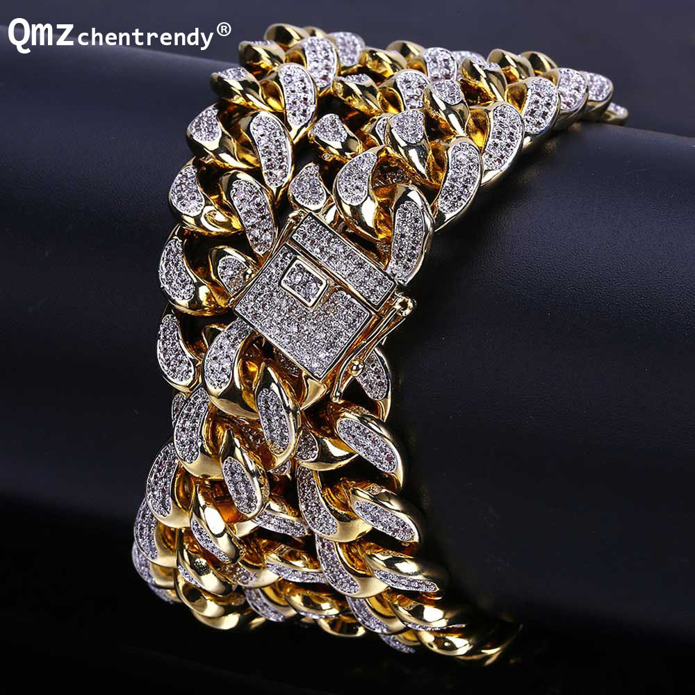 Punk 13mm Mens Miain Curb Cuban CZ Chain Necklaces Hip hop Men Necklace With Luxury Box Clasp Punk Bling Iced Out JewelryPunk 13mm Mens Miain Curb Cuban CZ Chain Necklaces Hip hop Men Necklace With Luxury Box Clasp Punk Bling Iced Out Jewelry
