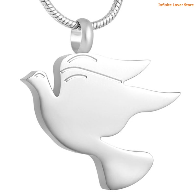 цена на KLH8712-9 Peace Dove Stainless Steel Cremation Pendant Necklace Memory Ashes Keepsake Urn Necklace,Wholesale Cheap Pet Jewelry