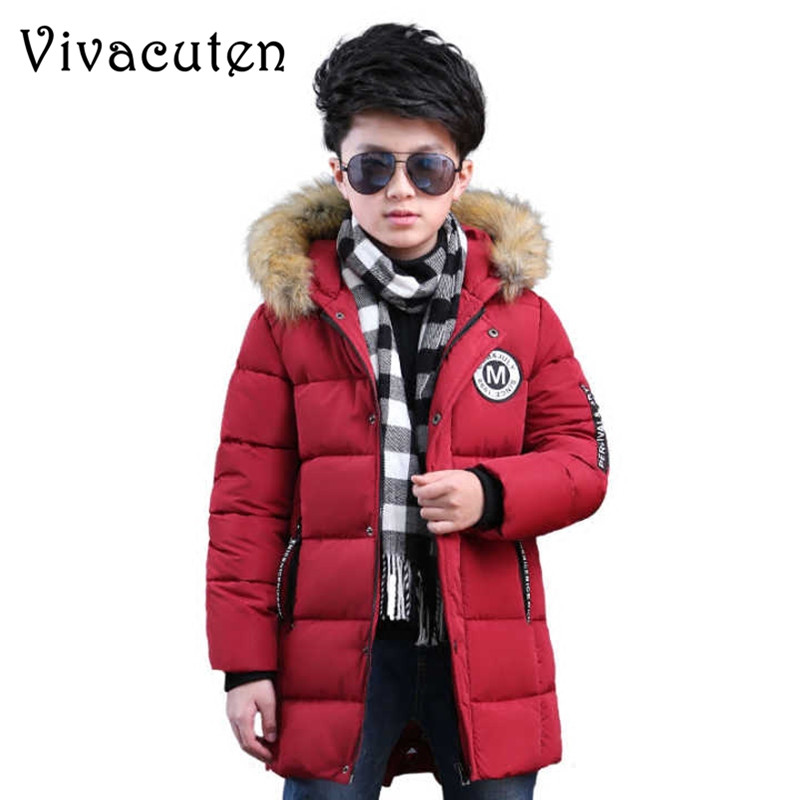 Boys Fashion Winter Down Jacket For Kids Fur Hooded Thicken Warm Clothes Teens School Boy Parkas Coat Children Outerwear Tops wool coat for boys woolen outerwear boys winter jacket children clothing warm boy blazer thicken kids clothes b051