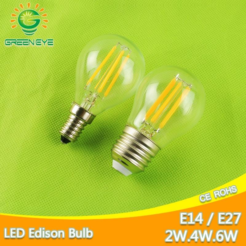 led bulb E27 E14 2W 4W 6W G45 AC 220V 240V COB LED Glass Ball Bulb Edison lamp Antique Retro Vintage Led Filament Light стоимость