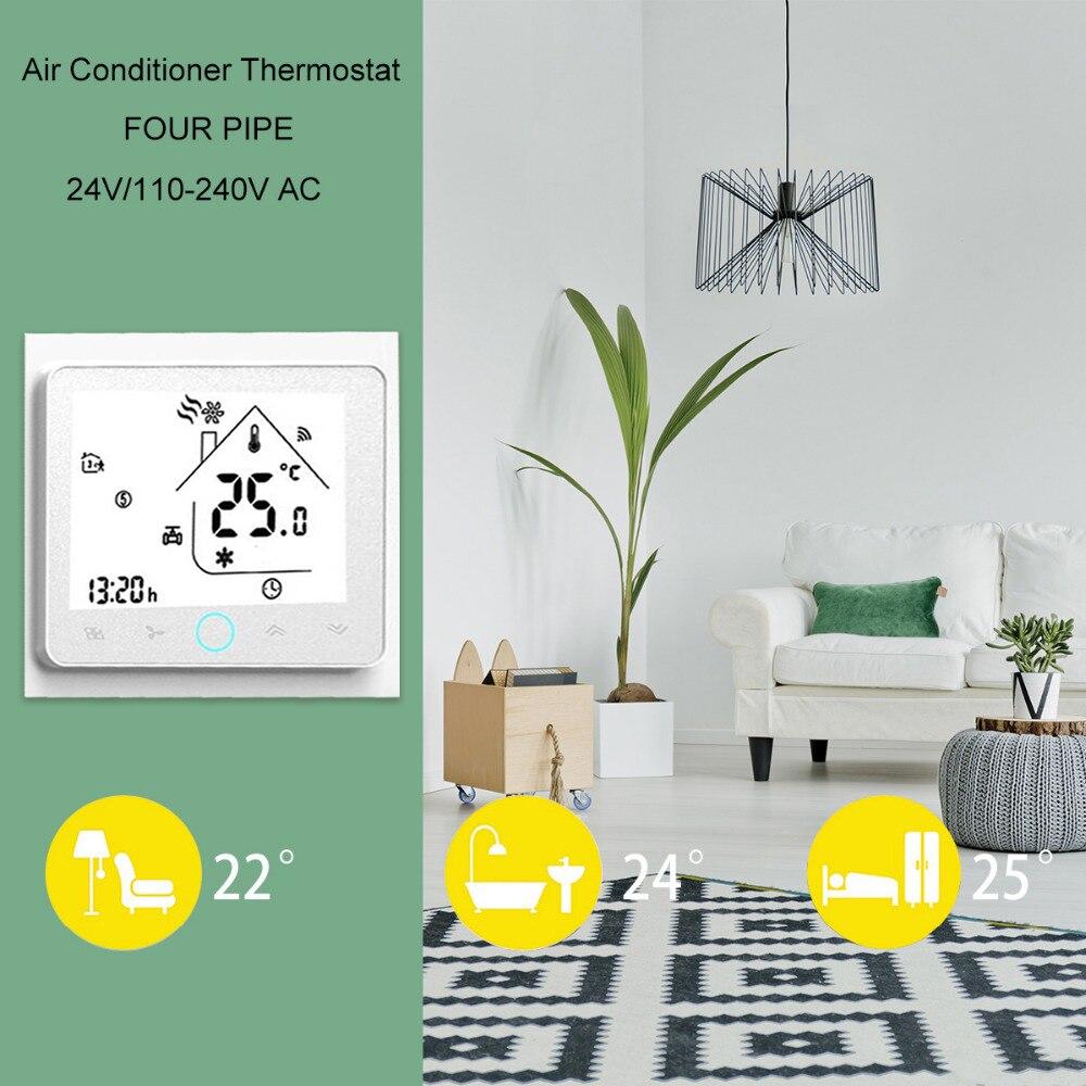 Smart Wifi Thermostat pour 2 Tuyau Ventilateur Bobine Thermorégulateur Climatiseur Température Contrôleur Fonctionne avec Alexa Google Maison