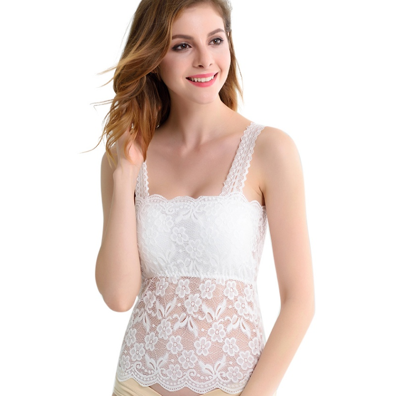 Summer Sleeveless Shirt Sexy Cami Loose Female Tops Vest Ladies Tank Top Women Lace Patchwork Transparent Camis