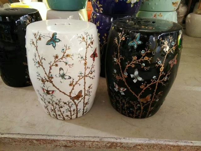 Ordinaire White/Black Jingdezhen Porcelain Garden Stool Ceramic Stool For Dressing  Table Drum Chinese Butterfly Chinese