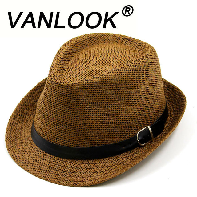 4d872b799e62f Women s Straw Hat Summer Men Beach Hats for Women Girls Sun Cap Chapeu  Masculino Panama White Fedoras Leather Buckle 58-60cm