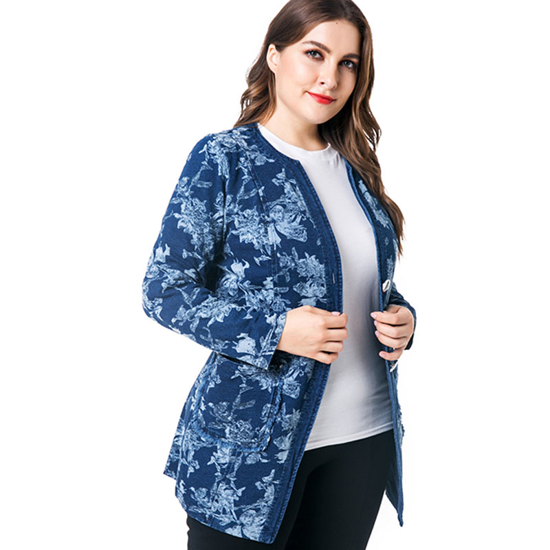 ad4f42199fbfc Miaoke plus size vintage long sleeve denim jacket women clothing 2018  autumn new fashion print fall jean oversiz jacket coat -in Basic Jackets  from Women s ...