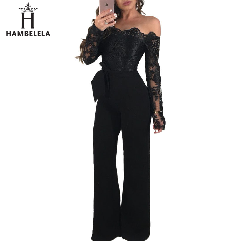HAMBELELA Sexy Strapless Hollow Out Women Autumn   Jumpsuit   Elegant Long Sleeve Female Lace Patchwork Rompers Women Overalls