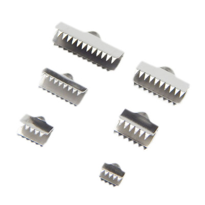 50pcs Stainless Steel Fastener Clasps Fitting Flat Leather Cord Silver Tone End Caps Clip Clasps Jewelry Making Conponents
