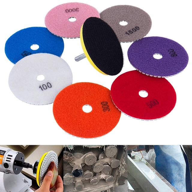 Hakkin Hot Sale 9Pcs/set 4 Inch 100mm Wet Dry Diamond Polishing Pads Diamond Saw Disc For Granite Marble Polish