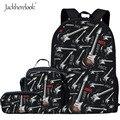 Jackhereluk комплект из 3 предметов с электрогитарным принтом  школьные сумки для учащихся средней школы  большой ортопедический ранец  подростк...