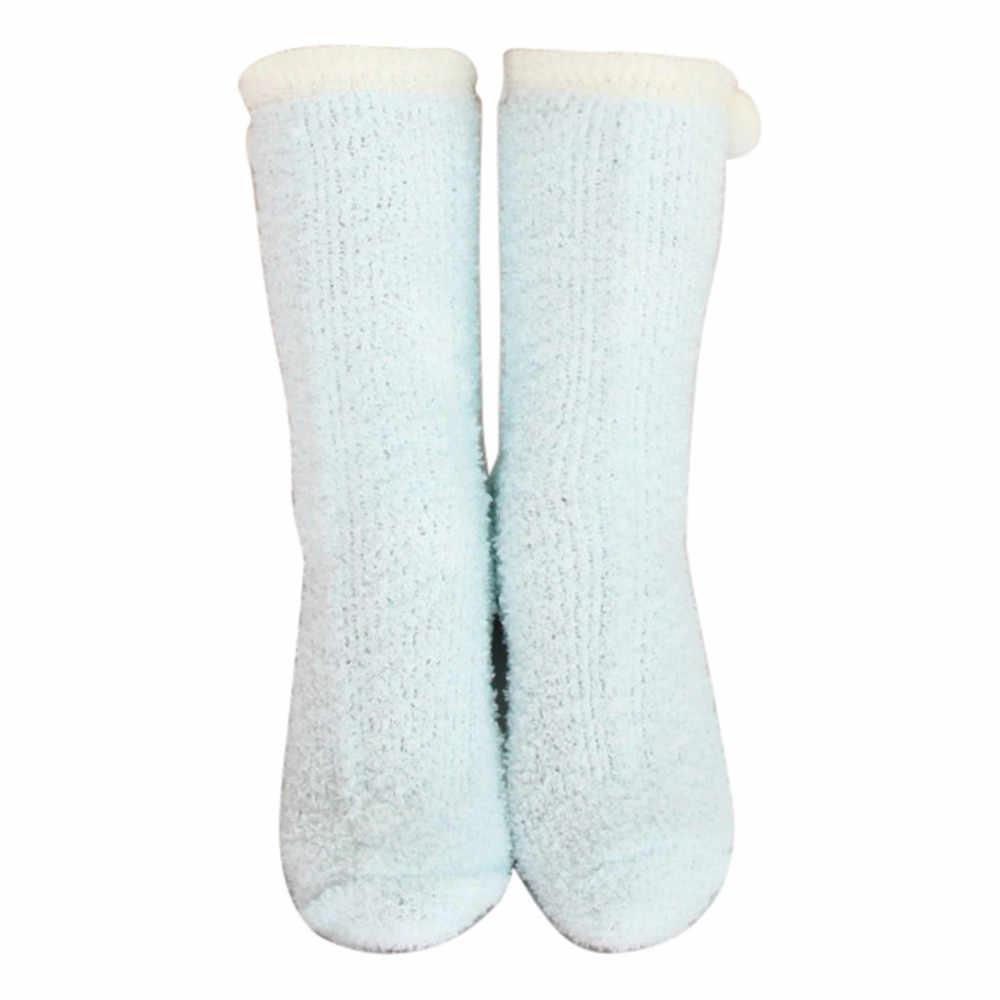 JAYCOSIN Kleidung Lange Socken Frauen Winter Warme Schlaf Socken Dickes Handtuch Socken Mädchen Soild Bälle Korallen Fleece Boden Socken 2019