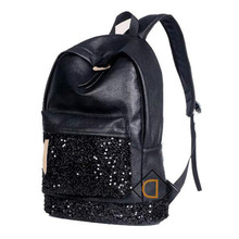 2019 New Fashion Women Backpack Big Crown Embroidered Sequins Wholesale Leather School Bags
