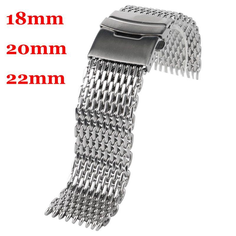 купить 18/20/22mm Silver Bracelet Stainless Steel Mesh Replacement HQ Men Women Watch Band Wrist Strap Push Button + 2 Spring Bars недорого