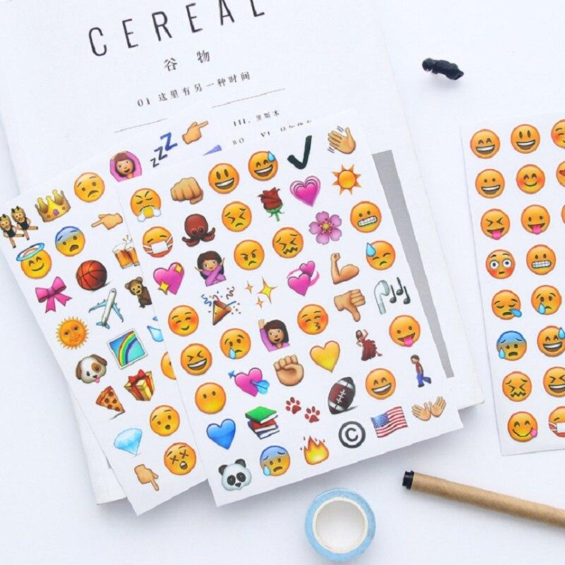 4Sheets=192pcs Creative Face Expression Stickers DIY Diary Photo Album Scrapbooking Reward Notebook Mini Cute Decor Wall Sticker