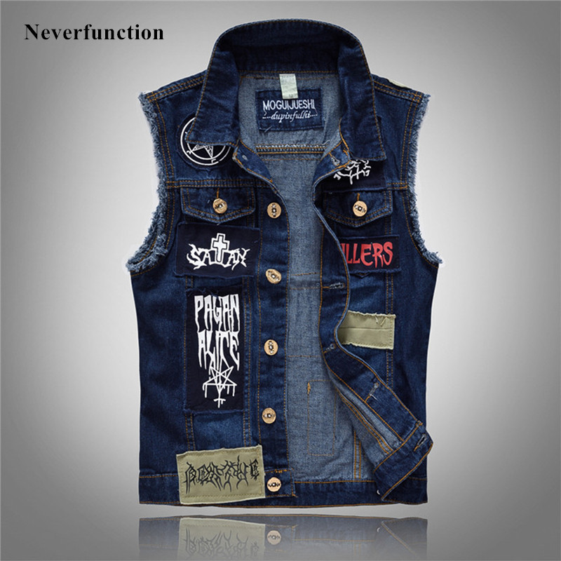 Autumn Winter New Men Fashion Personality Patch Printed Denim Jackets Vests Motorcycle Male Casual Sleeveless Jeans Coats 5XL
