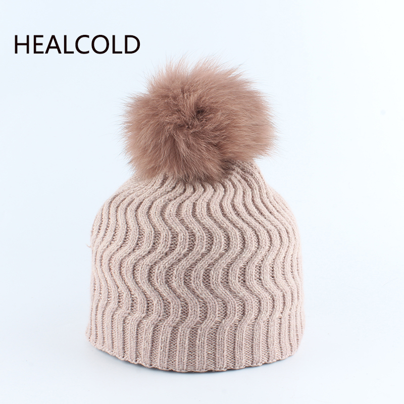 Kids Wool Hats Real Fur Pompom Hat Fox Fur Ball Knitted Warm Beanies  For Children Girls And Boys 2019(China)
