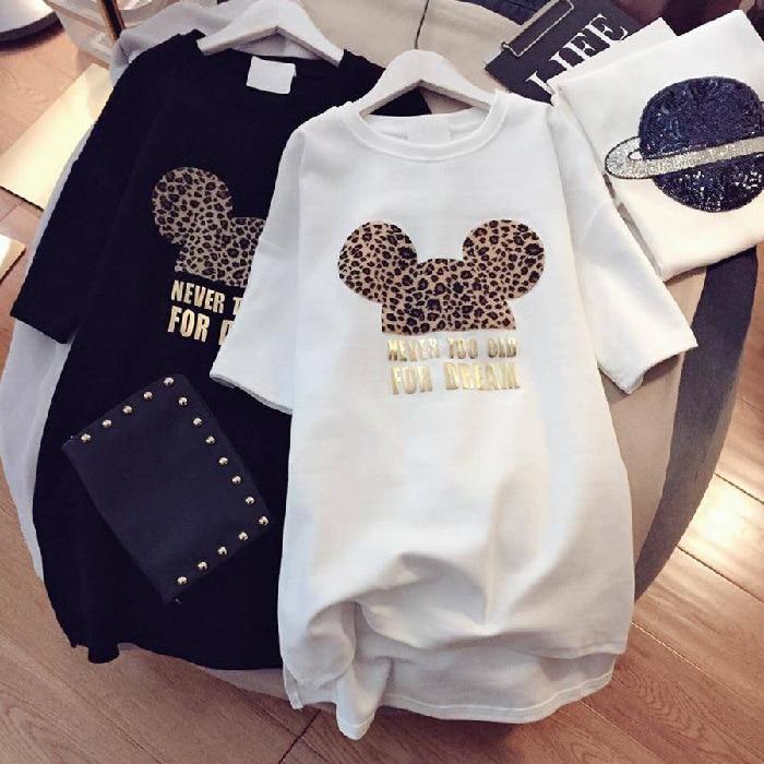 Minnie Mickey Mous Women T Shirt Korean Kawaii Tops 90s Leopard Plus Size Long T Shirts  Cartoon O-Neck Korean Shirt