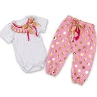 Beautiful Baby God Dot Bodysuit Baby Pompom Body Suit T Shirt Pants For Baby Girls 0