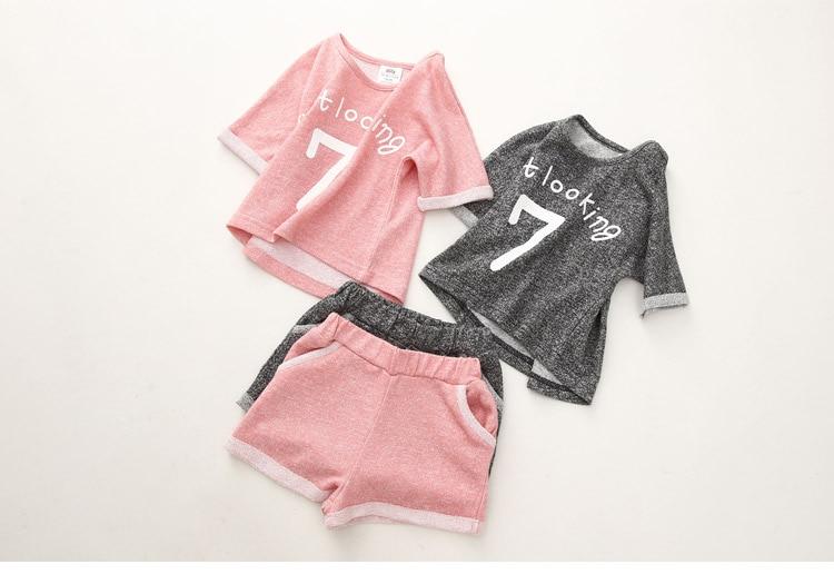 Girls Clothing Set 2018 Summer 2 3 4 5 6 7 8 9 10 Years Old Kids Girl Number Letter Print Short Sleeve T Shirt+Shorts Sports Set (14)