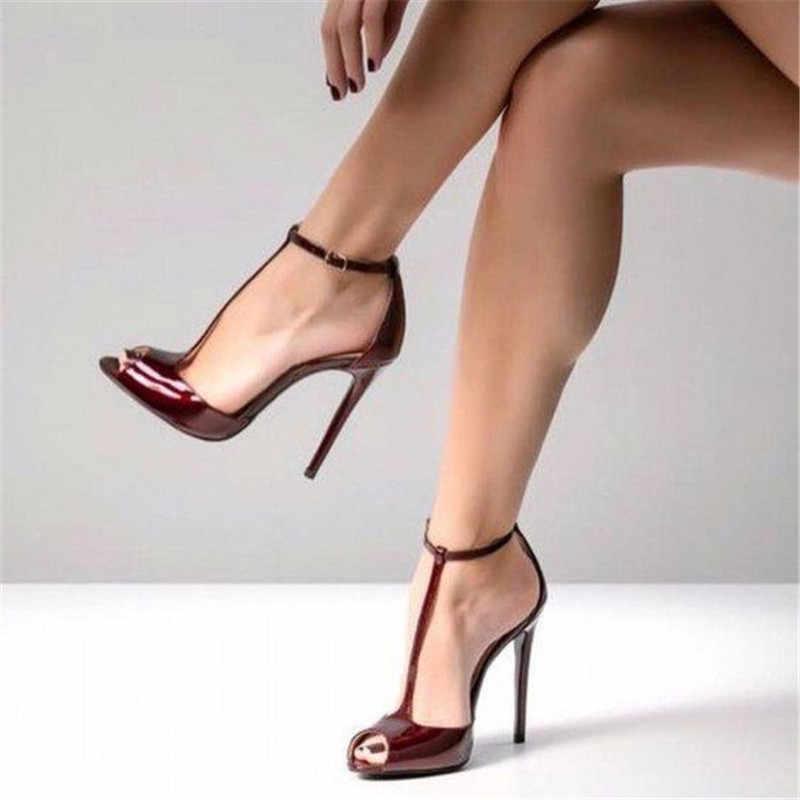 Nude Patent Leather Peep Toe High Heels