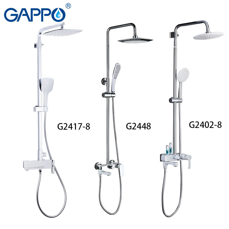 GAPPO bathtub faucet White Color Brass bathroom bath shower mixer set waterfall rain shower head bathtub