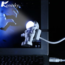 New Style Cool New Astronaut Spaceman USB LED Adjustable Night Light For Computer PC Lamp Desk Light Mini Reading Lamp White(China)