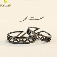100% 925 Sterling Silver Rings For Women Black Spider Web Grid Zircon Couple Open Ring Men Femme Personality Jewelry Love Gift thailand imports men s black zircon 925 sterling silver ring side face