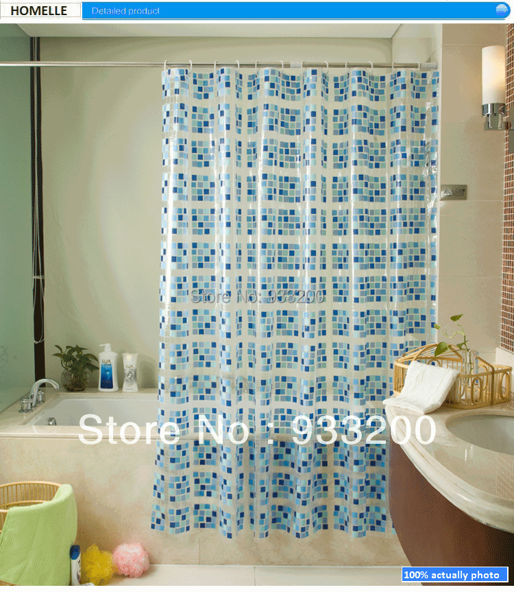l3 bathroom curtain shower blue squre design waterproof pvc material 200cmx150cm available different sizeschina