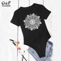 Dotfashion 2017 Wommen Geometric Boho Bodysuit Mandala Print Tee Bodysuit Summer Black Round Neck Short Sleeve