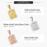 Initials Pendant Letter Name Necklace For Women Men Gold Silver Color Square Alphabet Charm Box Link Chain Couple Pendants GPM05 3