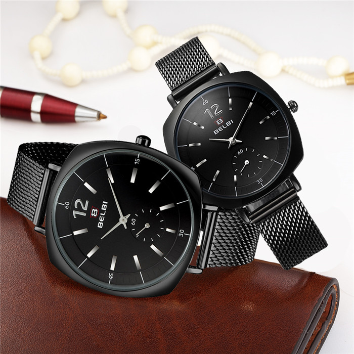 цена BELBI Military Sports Unique Design Couple Stainless Steel Band Quartz Watches Men Male Leisure Watch Relogio Masculino