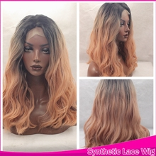 Overwatch Cosplay Ombre Wig Short Synthetic Lace Front Wigs Natural Wave wavy With Baby Hair Heat