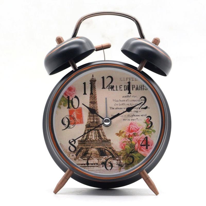 4 дюймов классическая двойная Белл Эйфелева Полотенца настольные часы молчит будильник Спальня часы с ночник