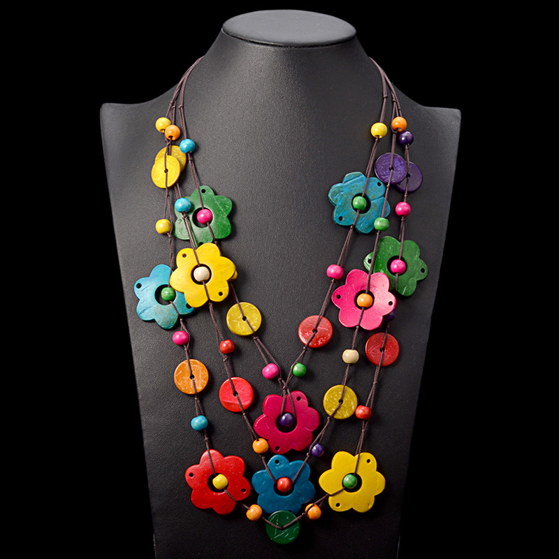 2018 New Ethnic Multi Layered Wood Flower Long Pendant Necklace Bohemia Handmade Coconut Garment Women Accessories Dropshipping