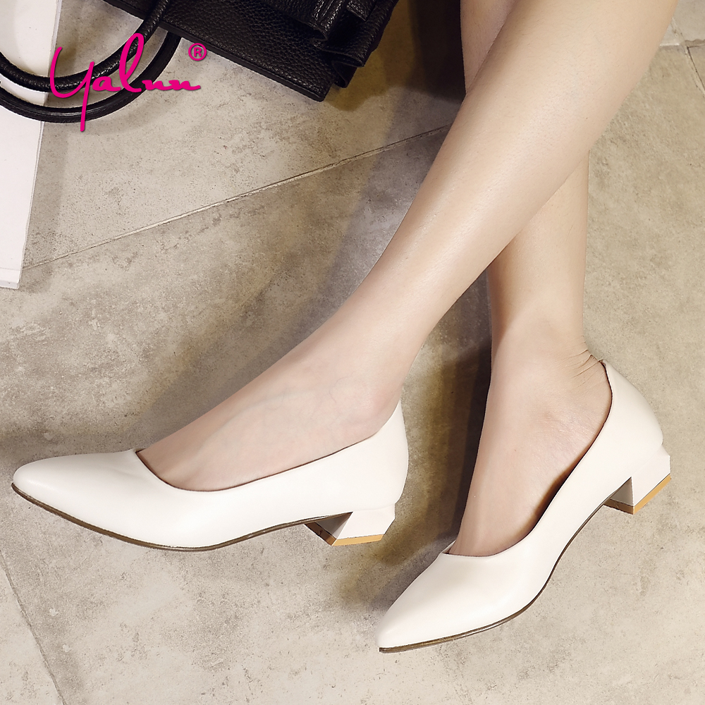 Real Photo Leather Square Heels Women Pumps Ladies Shoes Casual White Woman Shoes 2018 Spring Plus Size 43 Pointed Toe Shallow facndinll women pumps fashion middle heels pointed toe shoes woman square toe shoes ladies offcie dress casual date woman pumps