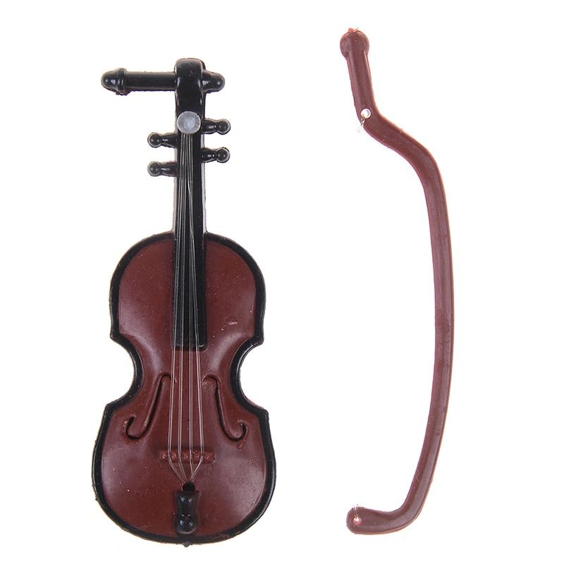 1Pc Miniature Music Instrument Plastic Mini Violin Dollhouse Decorative Ornaments Plastic Crafts DIY Home Decoration