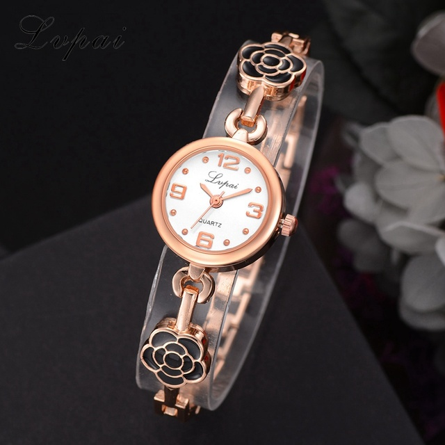 Lvpai New Women Bracelet Watches Dress Ladies Flowers Watches Alloy Creative Sma