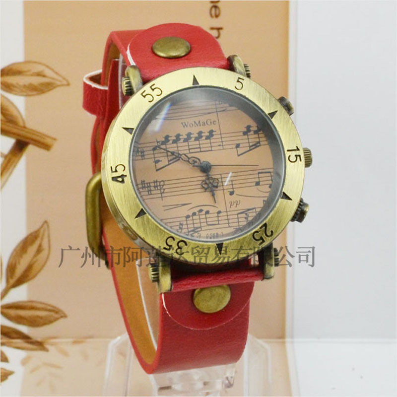 Copper Alloy Exquisite Vintage Leather Strap Watch Musical Symbols Watch High-end Classical Fashion Watch Casual Wristwatches