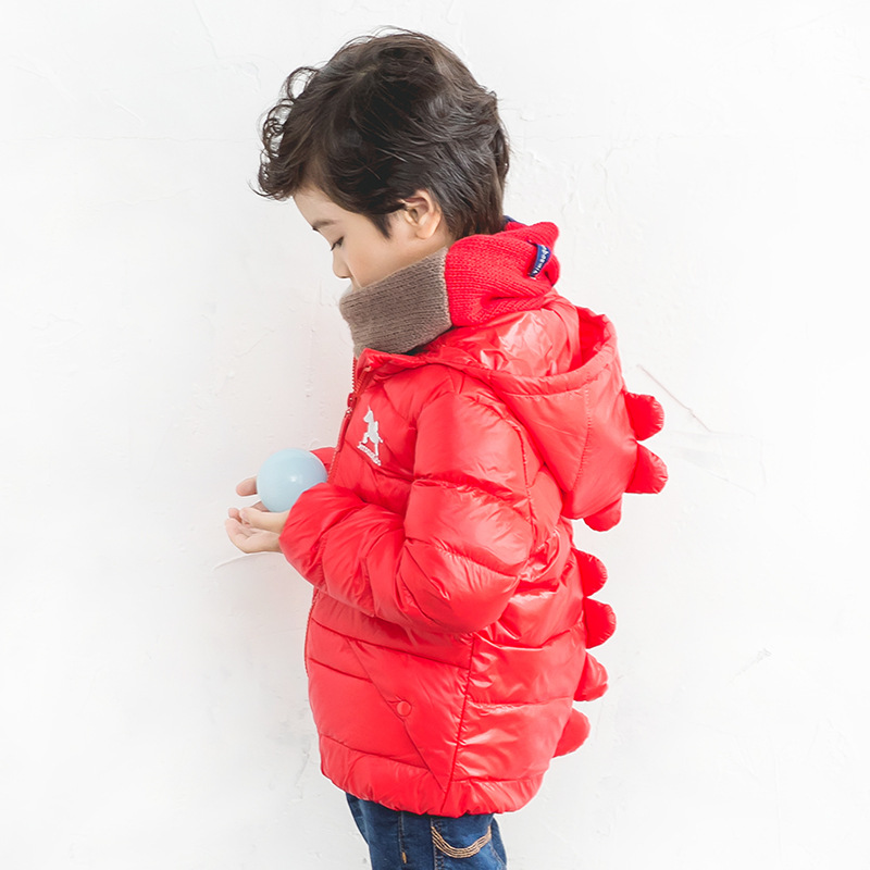 ФОТО Winter White Duck Down Jackets Cartoon Tyrannosaurus Girls Winter Coat Kids Outerwear Baby Boys/Girls Down Jacket dinosaur