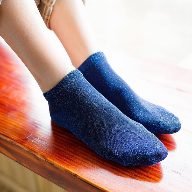 1Pair Legant Lady Glitter   Socks   Women Bow Design Cotton Womens   Socks   Luxury Shiny Happy   Socks   Funny Cute Solid Fashion