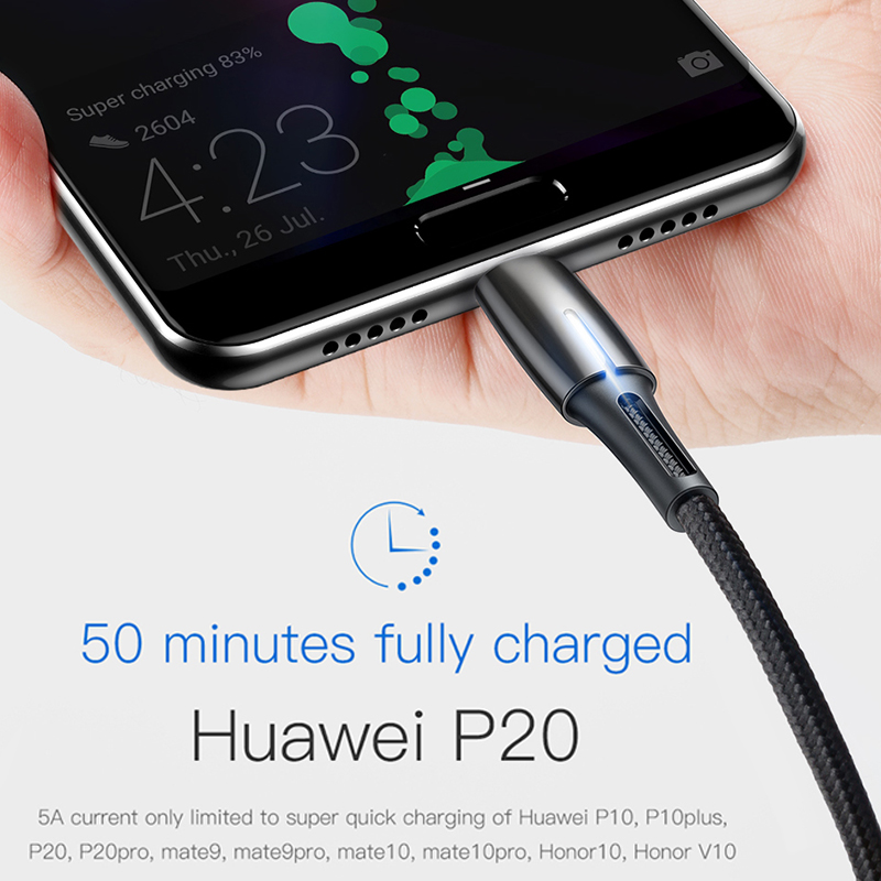 Baseus 5A USB Type C Cable for Huawei Mate 30 Pro P30 Supercharge USB C Quick