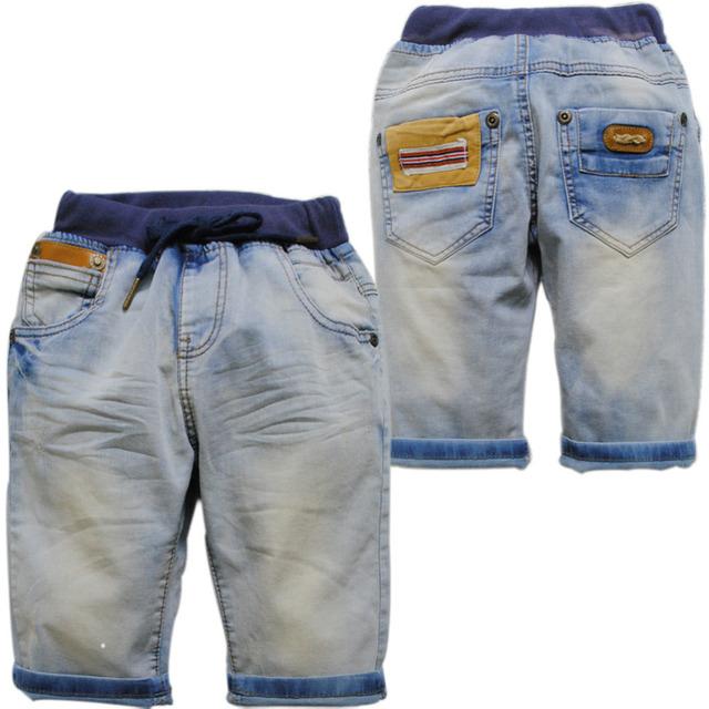 3904 calças de verão do joelho comprimento jeans meninos calças 50% novo fresco denim calças Capris