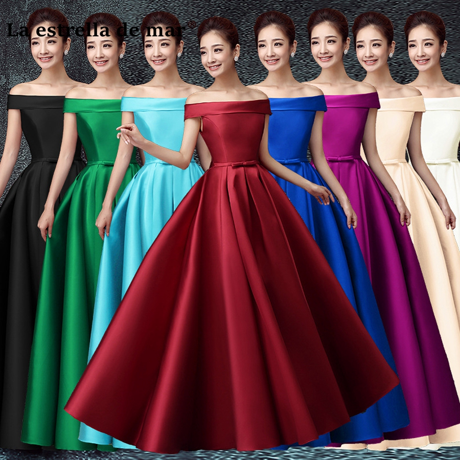 Robe Demoiselle D'honneur2019 New Satin Boat Neck Cap Sleeve A Line Burgundy Turquoise Purple Royal Blue Bridesmaid Dresse Long
