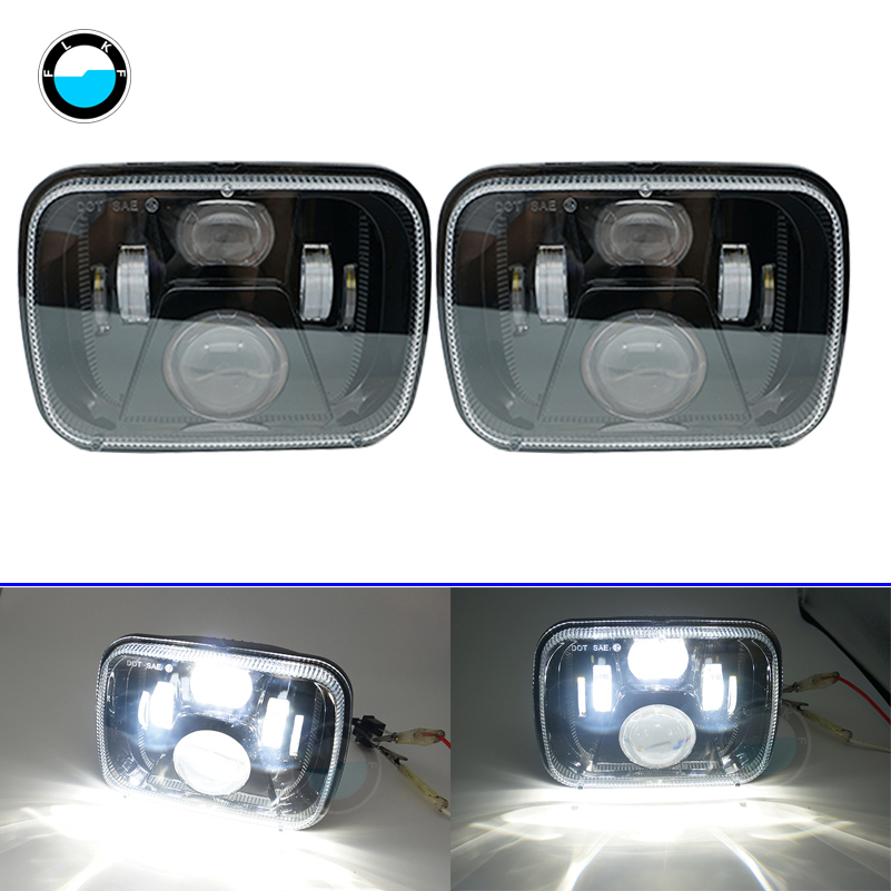 5x7 Inch LED Square Headlights for Jeep Wrangler YJ XJ 7x6 ''New arrive Car parts Rectangular for Jeep Cherokee XJ . siku внедорожник jeep wrangler с прицепом для перевозки лошадей