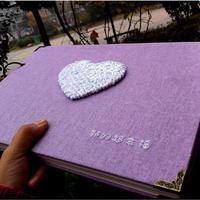 29,7*21 CM Lila Handgemachten Leinen Album 2 Ring Weiß Herz Sticken Sticky 20 Blätter 40 P DIY Scrapbook Kit Fotoalbum Loveing