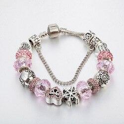 2017 vente nouveau Rose Cristal Perlé Bracelet Diy amour neige bracelet cadeau du Jour de Valentine