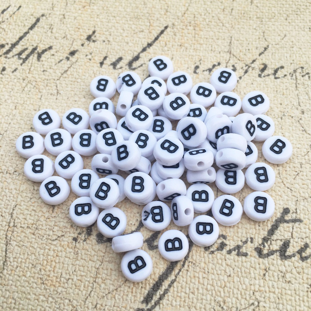 Acrylic Single Letter A-Z White Disc Alphabet Beads 7mm x 4mm 500 WHITE