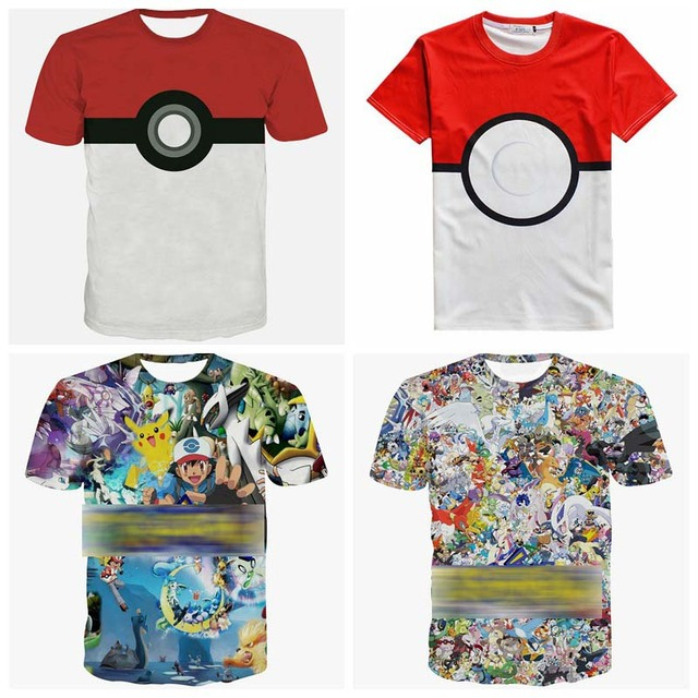 Novo Mais Recente moda Dos Desenhos Animados 3D Imagem E1192 CABEÇA Pikachu camisetas T das mulheres dos homens de manga curta Frete grátis