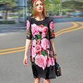 2017 Europe And United States Women's Spring Summer New Black Short Sleeve Gorgeous Large Rose Printing Dress 110907