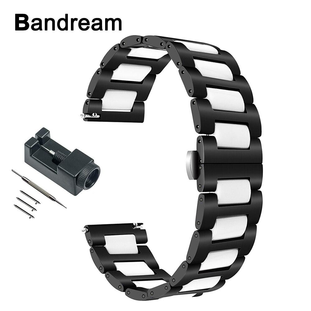 Ceramic + Stainless Steel Watchband for Garmin Vivoactive 3 Ticwatch 2 / E Samsung Gear Sport Watch Band Quick Release Strap все цены